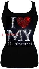 RHINESTONE I LOVE MY HUSBAND  JUNIOR  SHEER  V NECK S M L 1XL 2XL 3XL SHIRT NEW