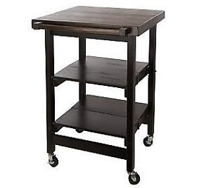folding island kitchen cart w butcher block style top on. Black Bedroom Furniture Sets. Home Design Ideas