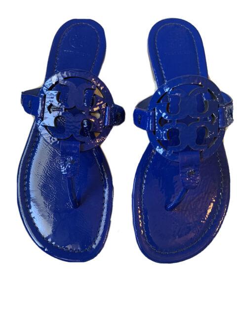 Tory Burch Miller Sandals Patent Leather Naplak Nautical Blue 8