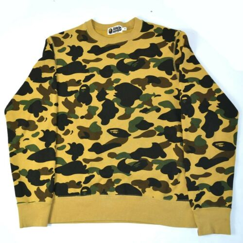 Bape Yellow Camo Crewneck Sweatshirt Size Medium U