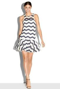 NWT-Milly-Chevron-Illusion-Jacquard-Jillian-Dress-Navy-White-4-435