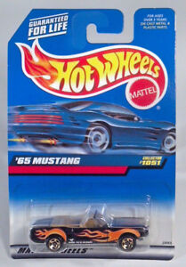 Hot-Wheels-1965-65-Ford-Mustang-3-034-Diecast-Scale-Model-Convertible-Black-Flames