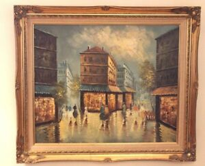 Oil-on-Canvas-Artwork-Painting-City-Scene-Gold-Antique-Wood-Frame-Signed
