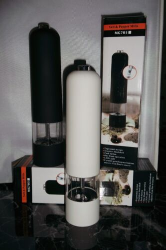 ELECTRIC BATTERY POWERED SALT SHAKER /& PEPPER GRINDER MILL SET BLACK /& WHITE