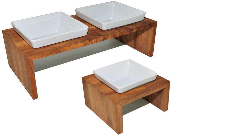 Meshidai True Teak aus Holz Napfständer Futternapf Wassernapf Hundebar Futterbar