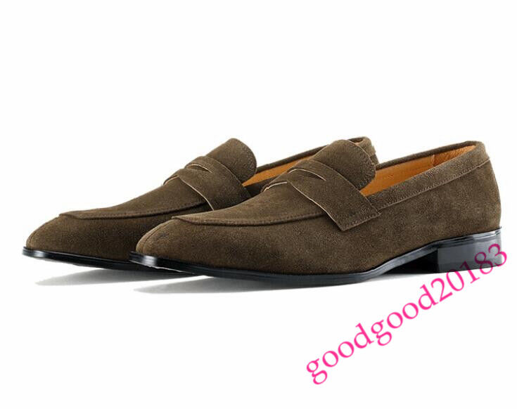 Uomo NEW Suede Pull On Driving Moccasin England Party Shoes Dress New Loafers SZ