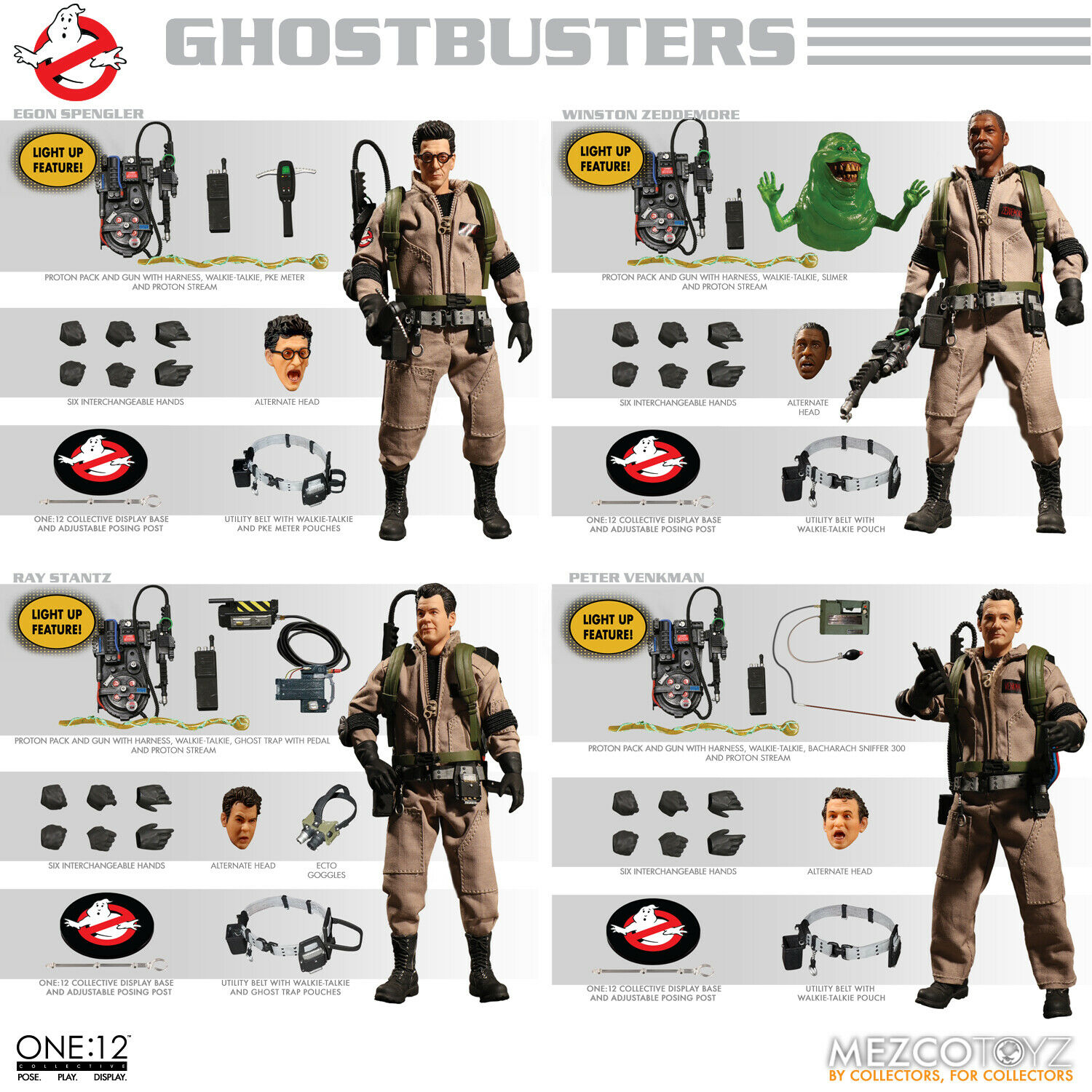 Mezco One 12 Collective Ghostautobusters Deluxe Tin scatola 4 cifra Set MIS