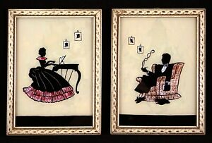 Charming-Pair-Reverse-Painted-Silhouettes-Woman-Man-1940s-Framed-5x7-Iridescent