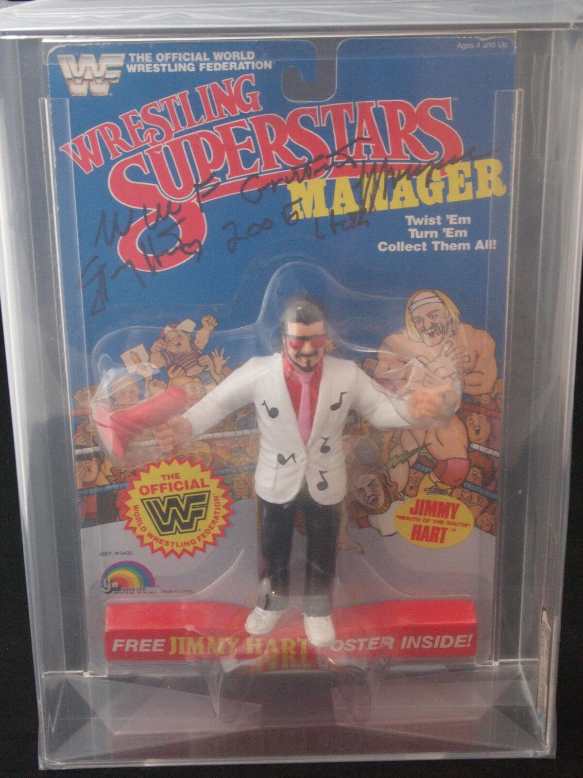 1986 Ljn Wwf lucha de superestrellas Jimmy Hart Serie 3 Firmado Afa 60 N corazón Psa