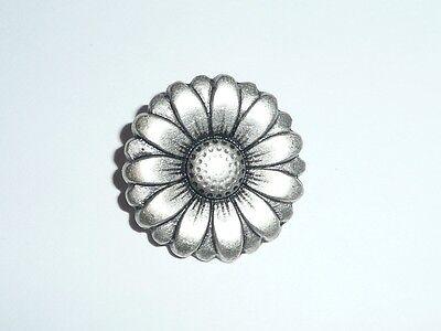 """Cool Large Flower Metal Button - Matte Antique Silver - Flower Petal Shape 7/8"""""""