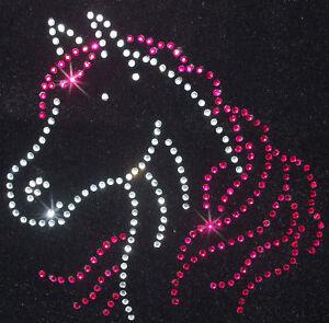 HORSE-HEAD-pink-iron-on-rhinestone-DIAMANTE-bead-diy-T-SHIRT-TRANSFER-patch