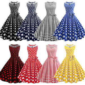 Women-Dot-Swing-50s-60s-Retro-Housewife-Rockabilly-Party-Evening-Dresses