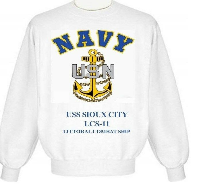 USS SIOUX CITY  LCS-11 LITTORAL COMBAT SHIP  NAVY ANCHOR EMBLEM SWEATSHIRT