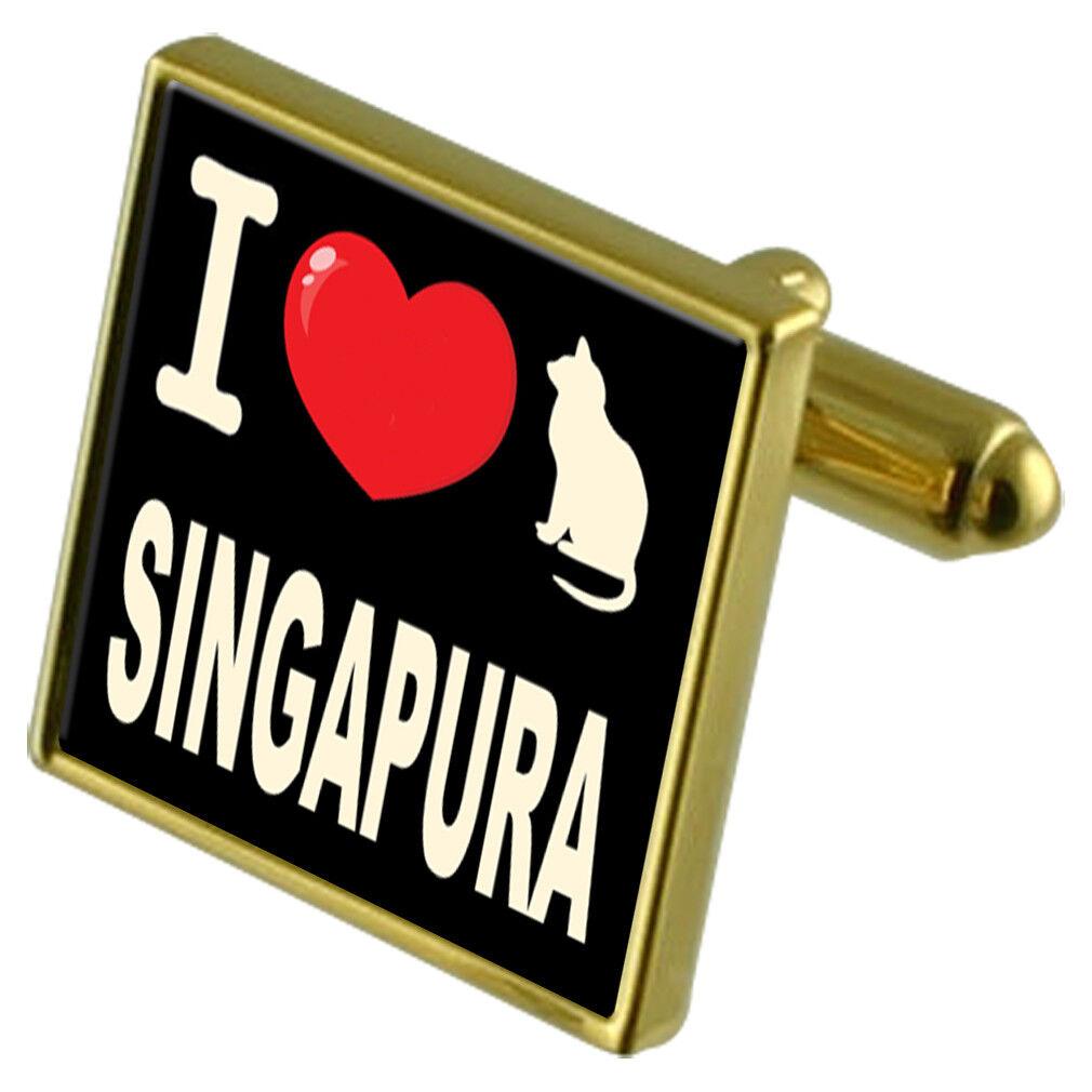 I Love Love Love My Cat Colore oro Gemelli Fermasoldi Singapura 69c079