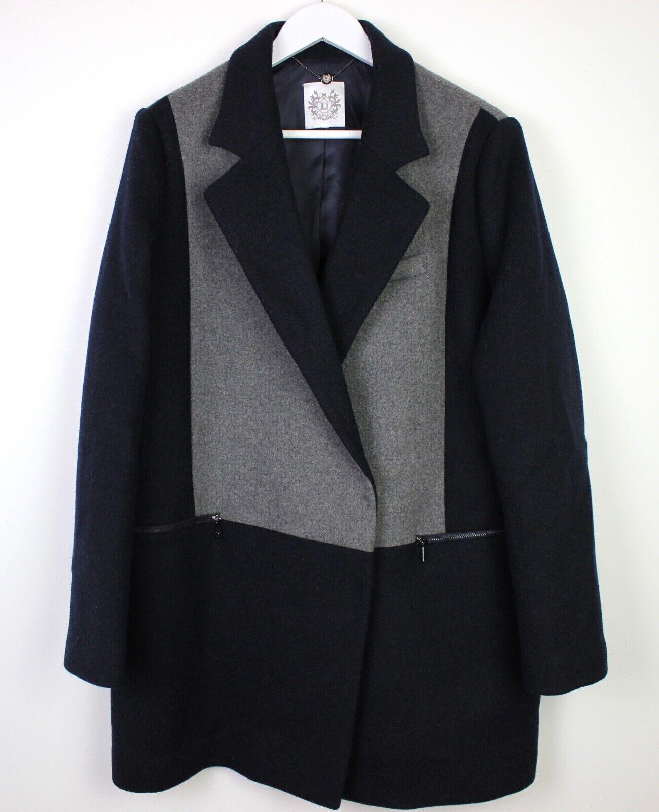 Dawn Levy damen Wool Blend Blau grau Overcoat Long Coat Amazing Condition - L