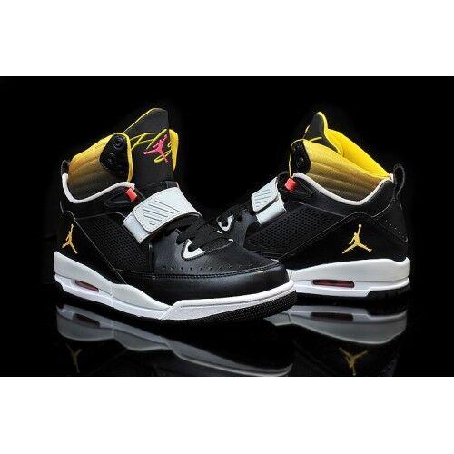 Jordan Flight 97 Black Vibrant Yellow-Pure Platinum shoes 654265-070 SIZE 10.5