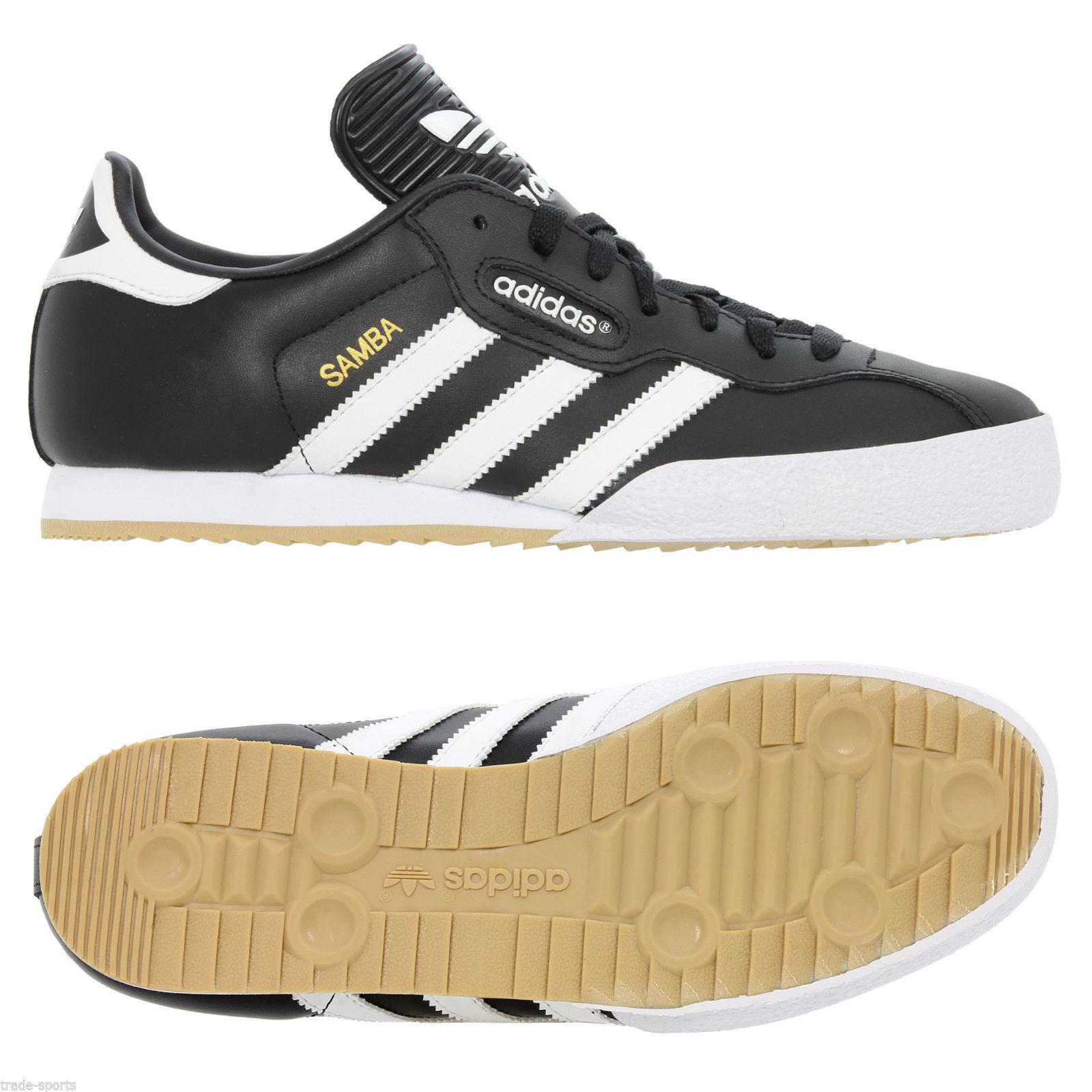 Adidas Original Mens Shoes Samba Super Shoes Mens Trainers Black/White 447b48