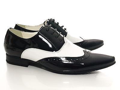 Herren Business Schnürr Schuhe Schwarz Weiß Lack Optik # 211-3