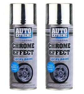 2 X 400ml (14 floz) Chrome Effect Spray Paint Quality ...
