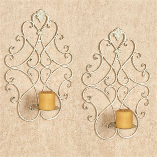 Ivory /& Gold Ornate Candle Holders Wall Sconce Pair Metal Candleholders