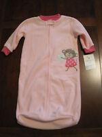 New NWT Carter Pink Monkey Heart Fleece Blanket Sleep Bag Sack 0-9 months Twin