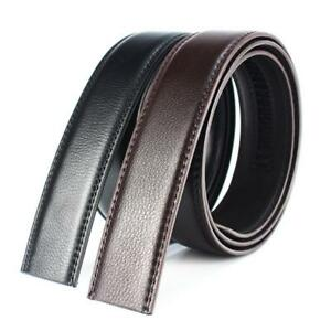 Details about Luxury Men's Leather Automatic Ribbon Waist Strap Belt Without Buckle Black