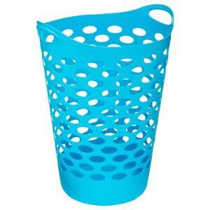 panier linge bleu plastique souple bac corbeille vetements sale 60 litres ebay. Black Bedroom Furniture Sets. Home Design Ideas
