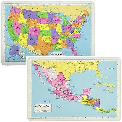 Painless Learning Educational Placemats Sets USA And Mexico/Central America  Maps   eBay