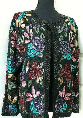 SCALA embellished sequin beaded jacket silk lined