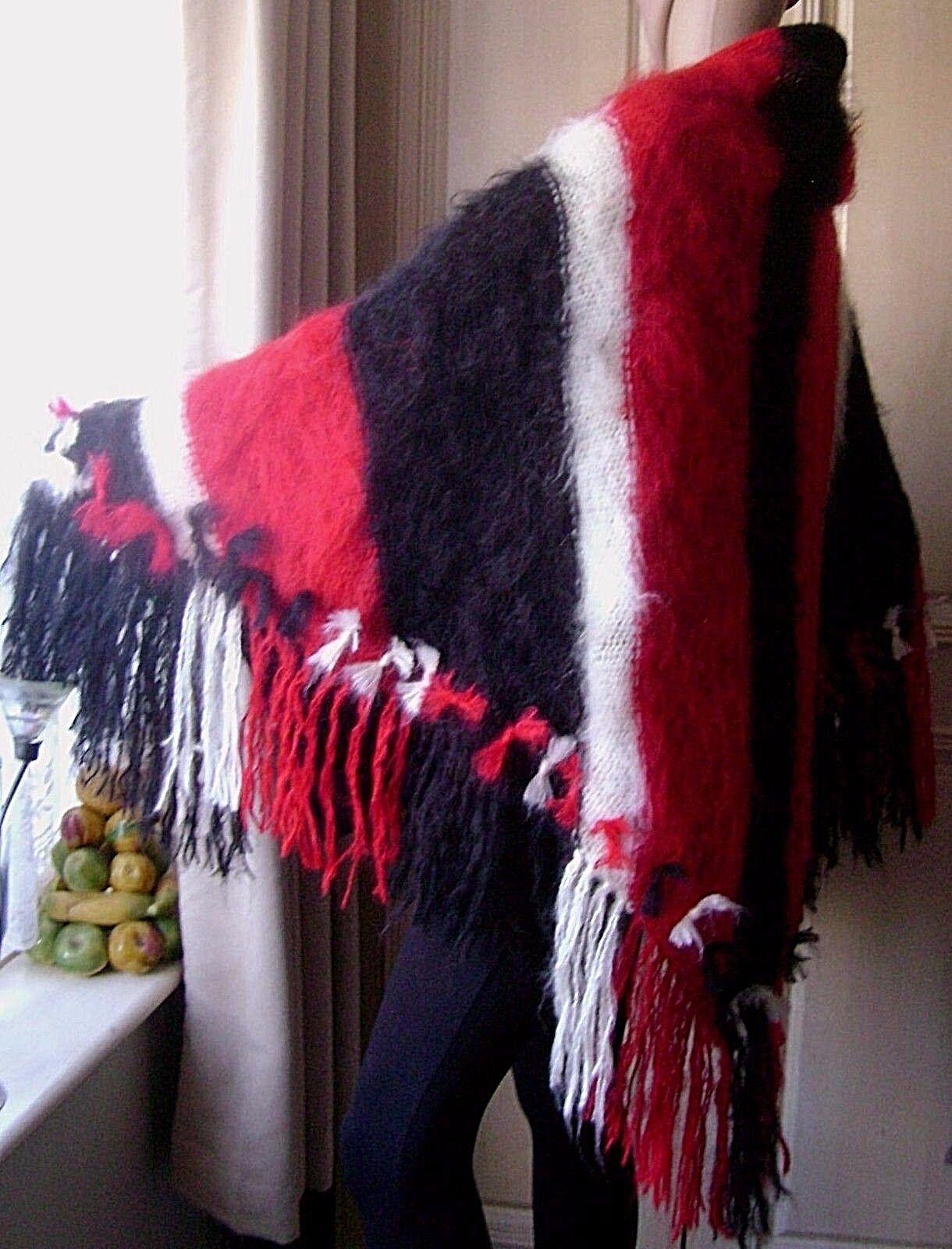 spazzolato Mohair Poncho Scialle Wrap Kimono