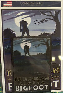 Ketchikan-Alaska-Patch-and-Postcard-Set-Lantern-Press-Bigfoot-moon-scene