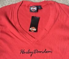 Harley Davidson Red V Neck Top Nwt Women's XL