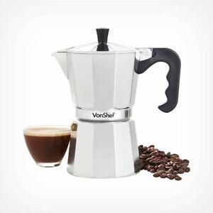 Silver 6 Cup / 300mI Italian Espresso Stove Top Coffee Maker Percolator Pot Home