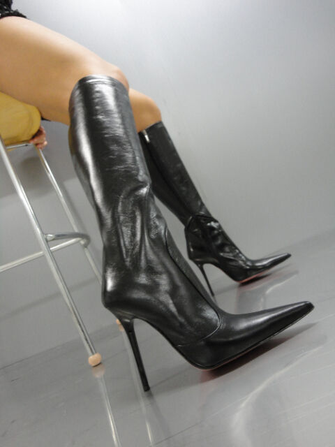 MORI ITALY KNEE HIGH POINTY BOOTS STIEFEL STIVALI SHOES LEATHER BLACK NERO 44
