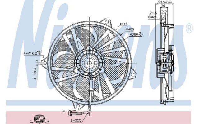 NISSENS Ventilador, refrigeración del motor PEUGEOT 406 607 CITROEN C5 85605