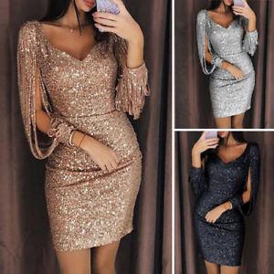 Womens-Ladies-Tassel-Long-Sleeve-V-Neck-Sequin-Mini-Party-Evening-Dress-Bodycon