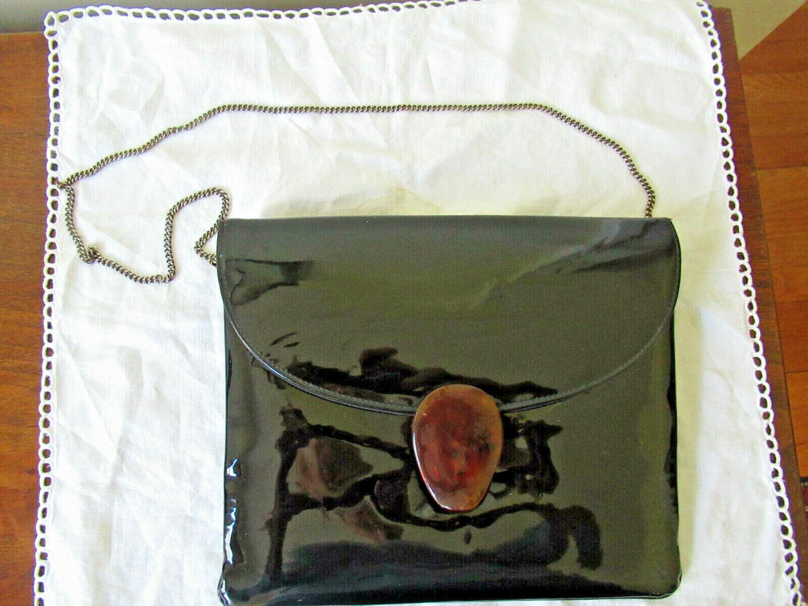 60'S VTG BLACK PATENT HANDBAG Purse Tortoise Shell Clasp Bakelite? Metal Chain