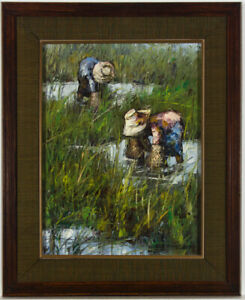 Framed-1981-Oil-Workers-in-a-Rice-Paddy-Field