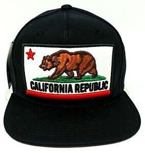 CALIFORNIA REPUBLIC Snapback Cap CALI Bear Trucker Mesh Flat Bill Hat OSFM NWT