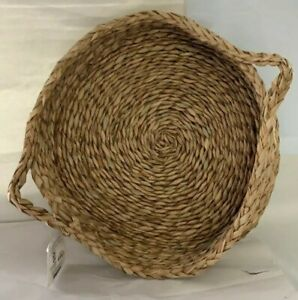"""New, 16"""" Round Natural Colored Water Hyacinth Woven Tray, 3.5"""" high, Free Ship."""