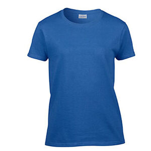 Women's Blank T-Shirt Ladies Plain Tee Ultra Cotton Tee Royal Blue ...