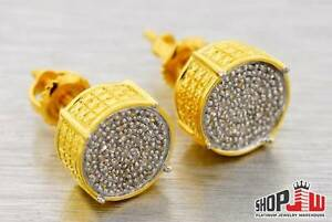 Real-0-35cttw-Diamond-Earrings-9mm-Round-925-Silver-14k-Gold-Finish-Mens-Ladies