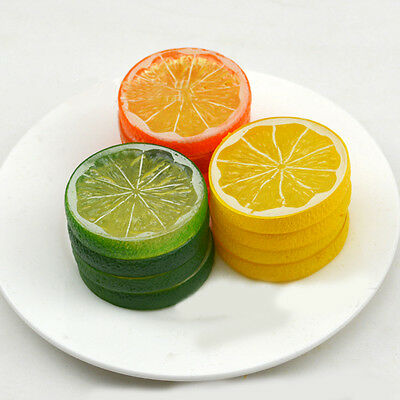 New Lifelike Decorative Artificial Plastic Lemon Slices Fake Fruit Home Decor