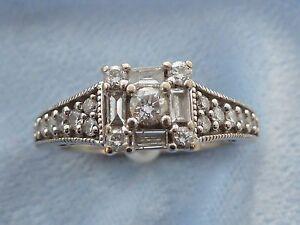 Details about Vintage 14K White Gold Ring, 23 Diamonds, TCW  75, Marked  Keepsake, Size 5 75