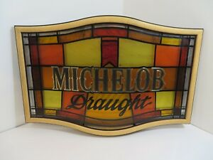 Image Is Loading Michelob Draught Plastic Beer Bar Sign Stained Gl