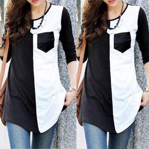 Women Summer Pocket Vest Top Long Sleeve Blouse Casual Tank Tops T-Shirt Shirt