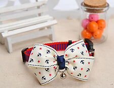 1PC Bowknot Adjustable Pet Dog Collar Puppy Cat Necklace With Bell Size M