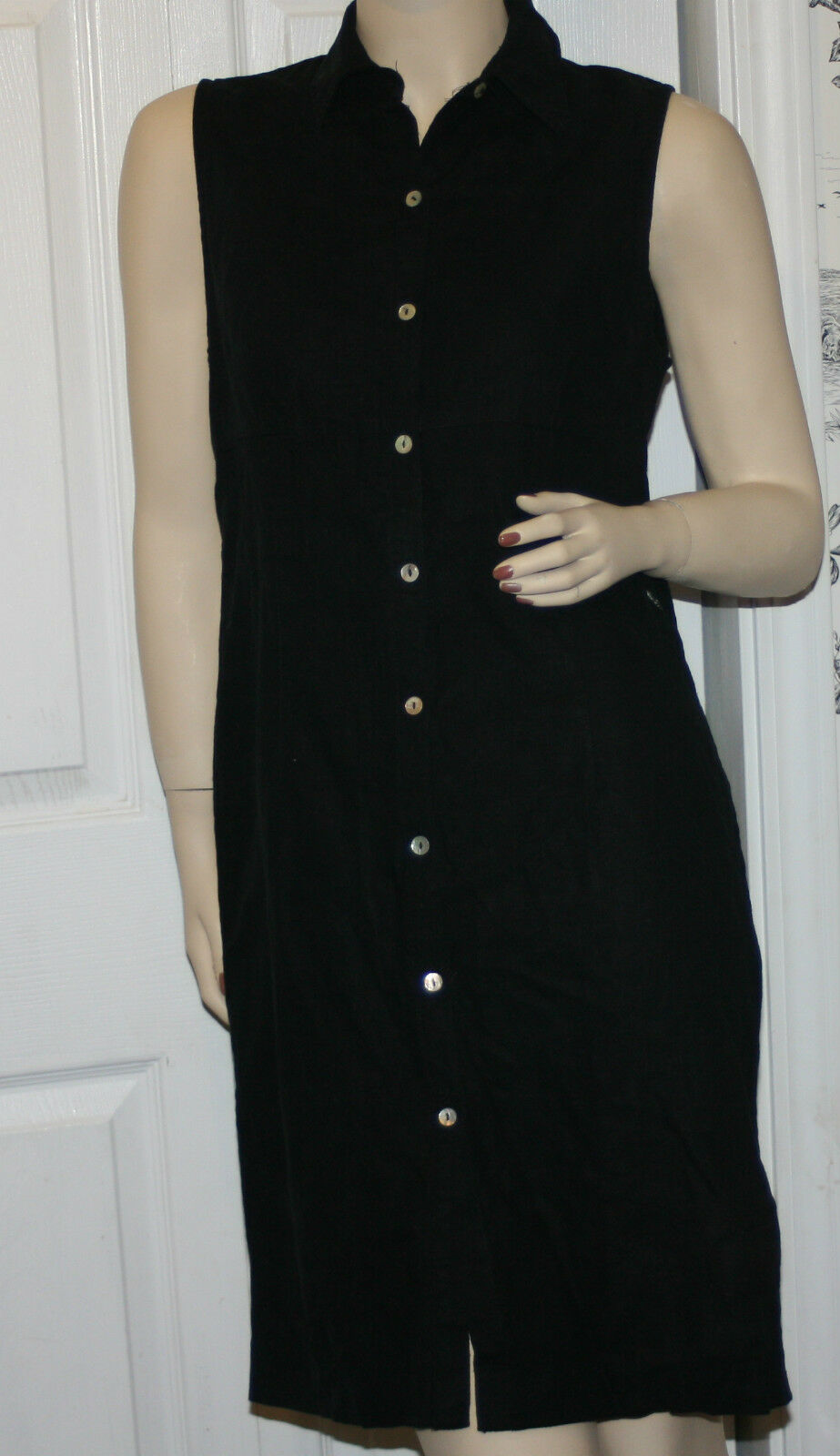 Casual Corner size 4 black linen dress s rayon button up sleeveless