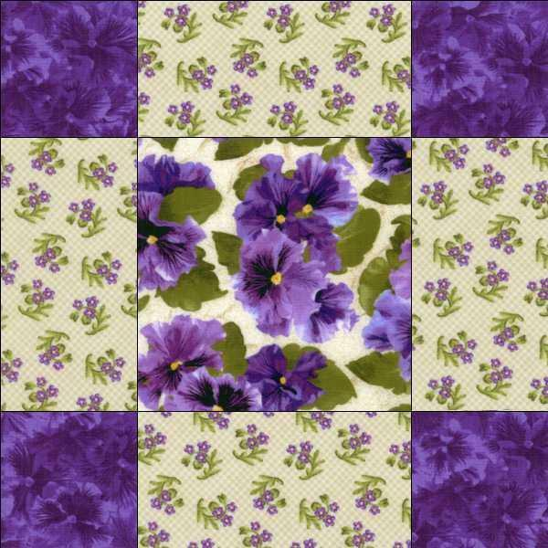 Beaves Lovely Purple Cream Lavender Floral Pansy Fabric 9 Square Quilt Block Kit