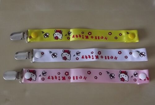 BABY GIRL HELLO KITTY PACK OF 3 PRINTED RIBBON DUMMY HOLDER CLIPS